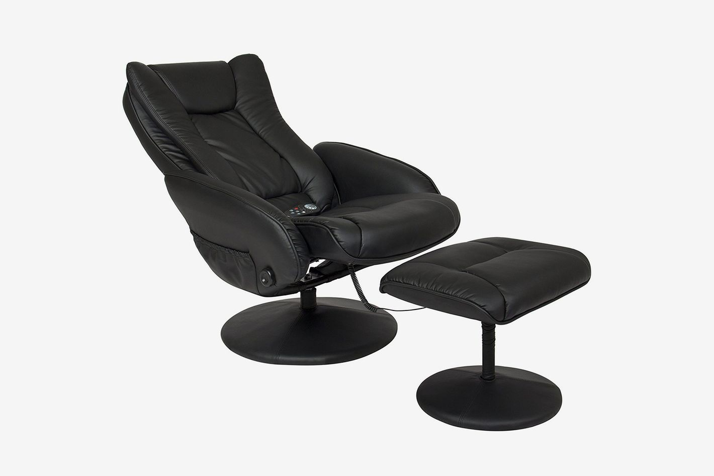 A black massage chair with an ottoman add-on.