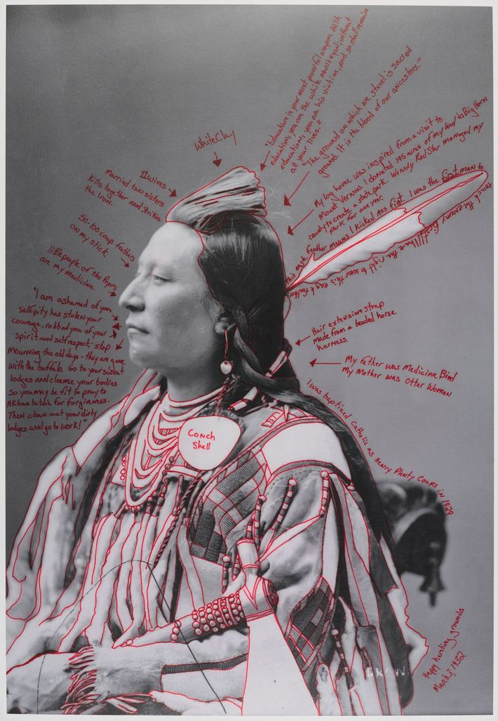 <strong>Wendy Red Star (Apsáalooke (Crow), born Billings, Montana, 1981). Alaxchiiaahush / Many War Achievements / Plenty Coups, 2014, from the series1880 Crow Peace Delegation. Pigment print on paper, from digitally reproduced and artist-manipulated photograph by C.M. (Charles Milton) Bell, National Anthropological Archives, Smithsonian Institution, Brooklyn Museum; Elizabeth A. Sackler Center for Feminist Art, Gift of Loren G. Lipson, M.D., TL2018.8.5a–b. © Wendy Red Star.</strong>
