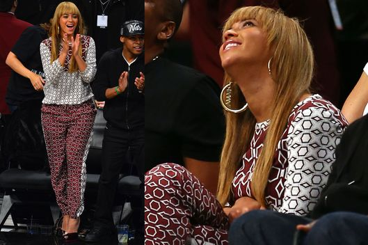 Beyonce Knowles attends Toronto Raptors vs Brooklyn Nets at Barclays Center on November 3, 2012 in Brooklyn, New York.