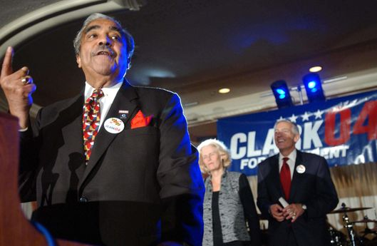"UNITED STATES - OCTOBER 29:  ""C COMPANY"" RECEPTION FOR WESLEY CLARK--Gert and Wesley K. Clark look on as Rep. Charles B. Rangel, D-N.Y., speaks during a ""low-dollar"" fundraising event, at the Omni Shoreham Hotel in Washington, D.C., for Clark, a Democratic presidential candidate and retired general from Arkansas. The event, organized by young professional supporters, was attended by several hundred donors.  (Photo by Scott J. Ferrell/Congressional Quarterly/Getty Images)"