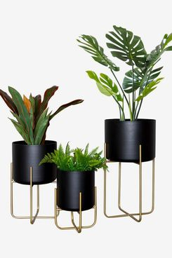 Large Floor Standing Planters with Metal Stand Pack of 3