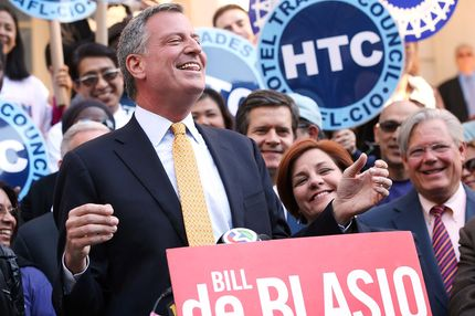 "Democratic mayoral front-runner Bill de Blasio attends a ""rally for progressive change"" where he received endorsements from more than 25 progressive leaders and organizations on September 12, 2013 in the Brooklyn borough of New York City. Bill Thompson, who came in second in the Democratic primary, has so far refused to concede to de Blasio until it is confirmed by the election board that de Blasio got 40 percent of the vote."