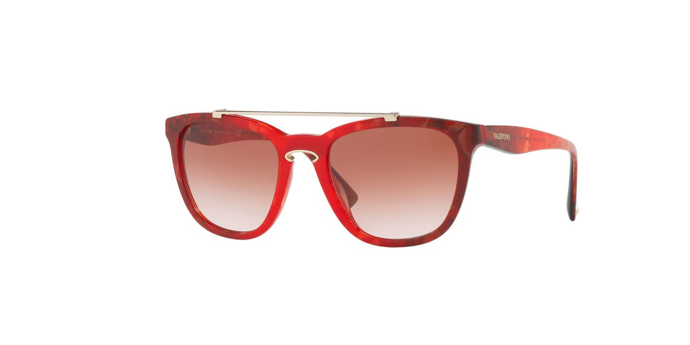 Valentino Rockloop Square Brow-Bar Sunglasses