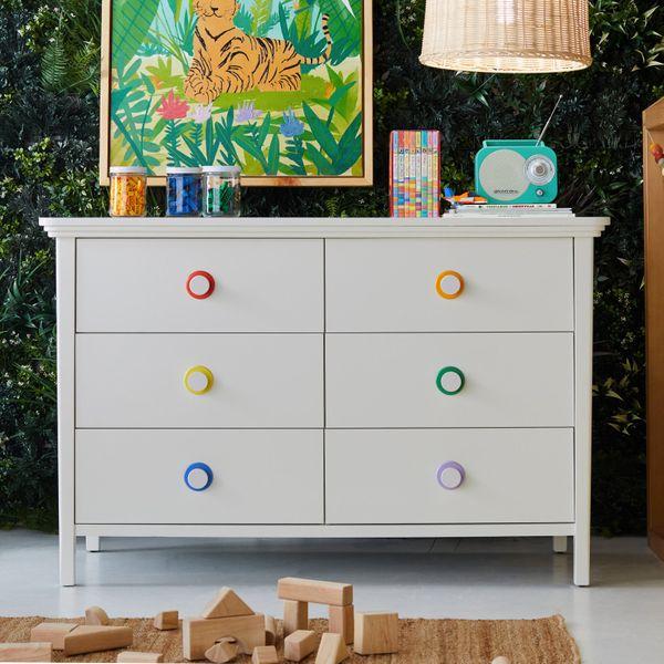 Drew Barrymore Flower Kids White 6 Drawer Dresser