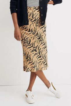 Madewell Silk Midi Slip Skirt in Tiger Stripe