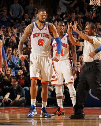 Amare Stoudemire #1, Jeremy Lin #17, react to the game action against the New Jersey Nets on February 4, 2012 at Madison Square Garden in New York City.