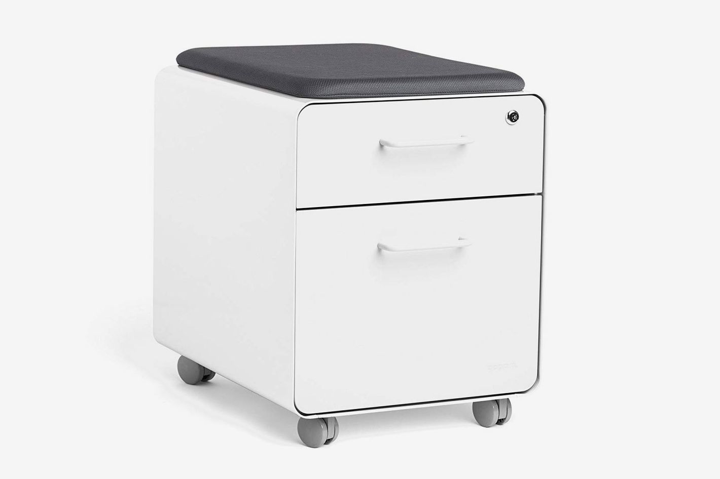 Poppin White Mini Stow File Cabinet With Casters and Pad