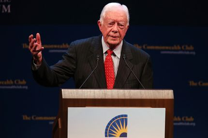 Former U.S. President Jimmy Carter speaks at the Commonwealth Club of California on February 24, 2013 in San Francisco, California. Former President Carter delivered a speech and took questions from the audience during a Commonwealth Club of California event at the Herbst Theatre.