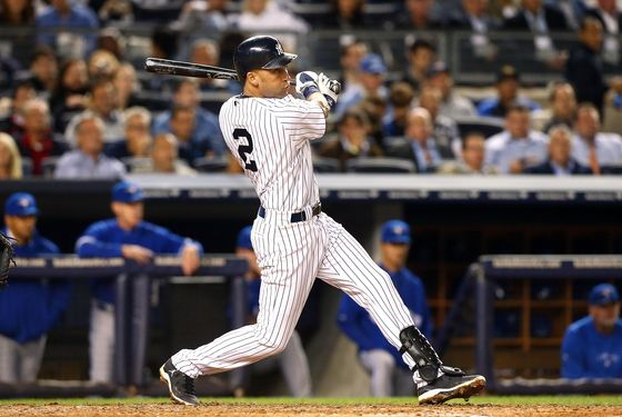 NEW YORK, NY - SEPTEMBER 20:  Derek Jeter #2 of the New York Yankees follows through on a fourth inning RBI base hit gainst the Toronto Blue Jays at Yankee Stadium on September 20, 2012  in the Bronx borough of New York City.  (Photo by Jim McIsaac/Getty Images)