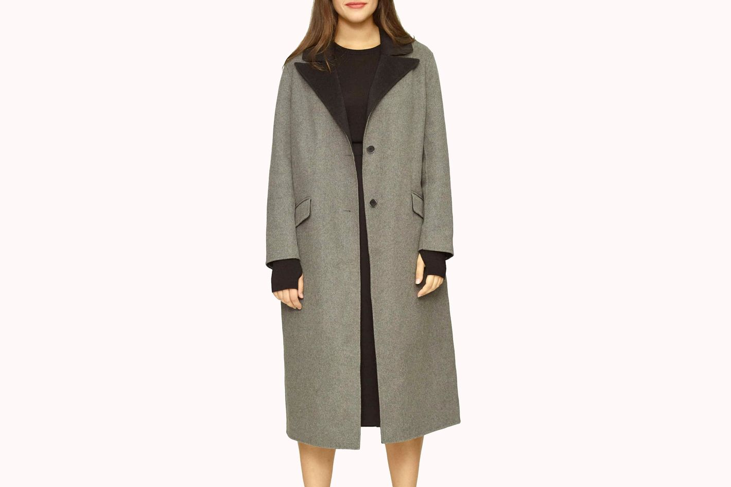 Universal Standard Contrast Wide Lapel Wool Blend Coat