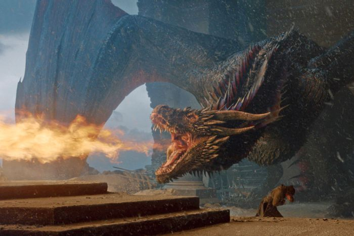 Drogon burning the throne.