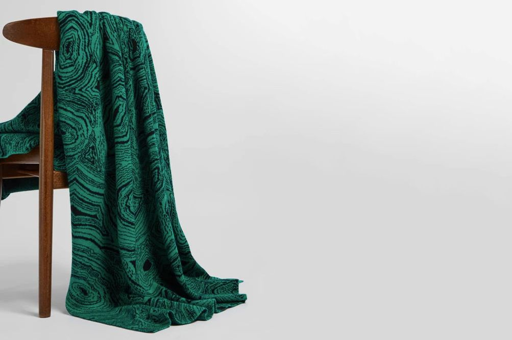 SAVED NY Malachite cashmere blanket