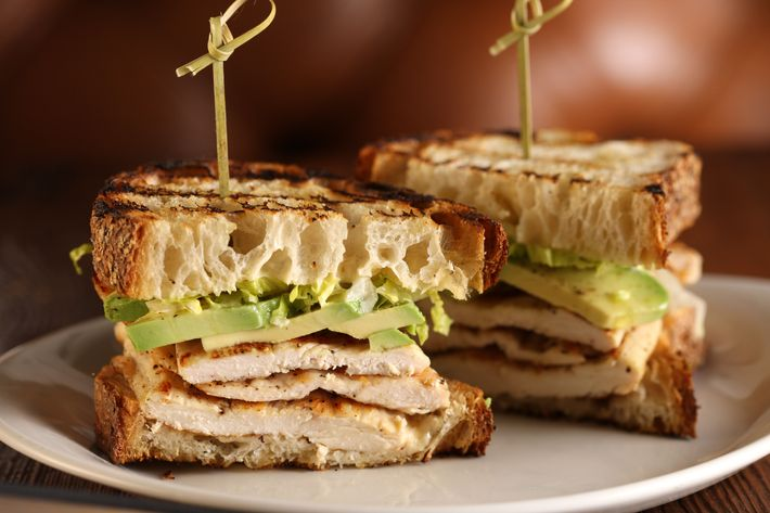Grilled chicken breast sandwich with avocado, romaine, and ginger-apricot aioli.