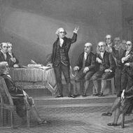 1787:  American general George Washington (1732 - 1799) presides over the Constitutional Convention, Philadelphia, Pennsylvania, May 25 - September 17, 1787.  (Photo by Hulton Archive/Getty Images)