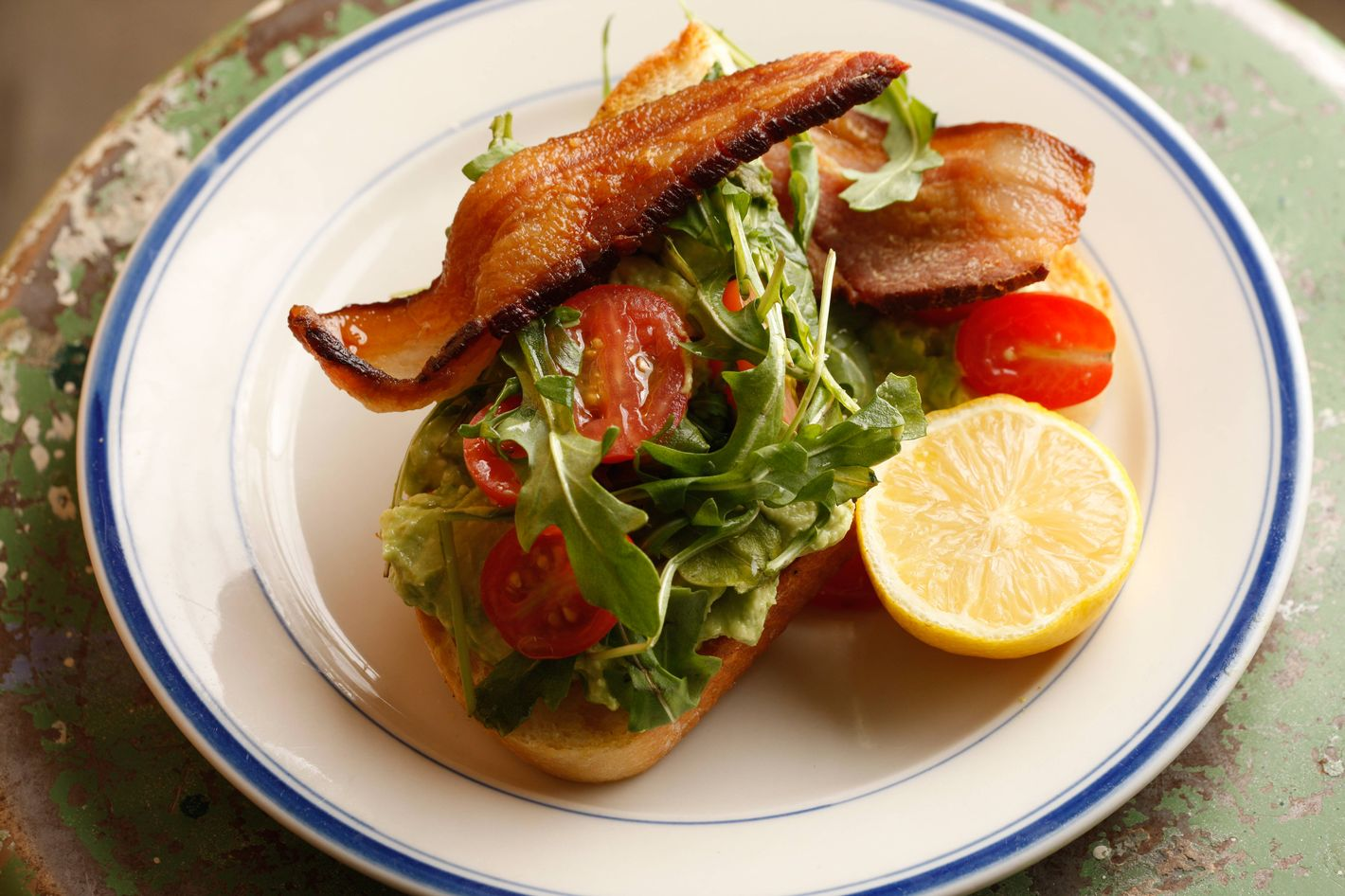 The BLT, with double-smoked bacon, grape tomatoes, and arugula.