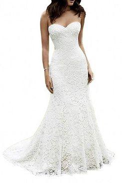 SIQUINZHENG Sweetheart Full Lace Beach Wedding Dress