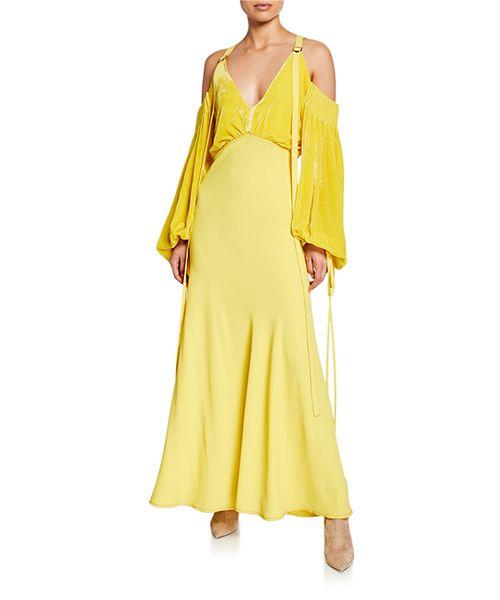 Velvet-Bodice Long Dress