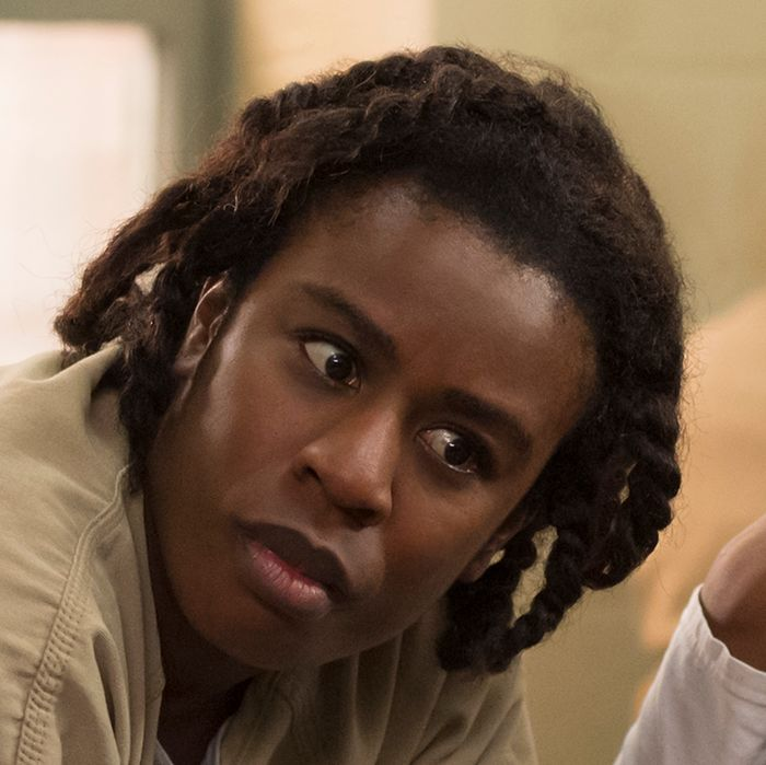 Danielle Brooks as Taystee, Uzo Aduba as Suzanne, Amanda Stephen as Alison, Adrienne C. Moore as Cindy.