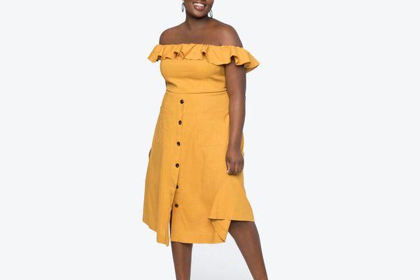 Eloquii Off the Shoulder Ruffle Dress