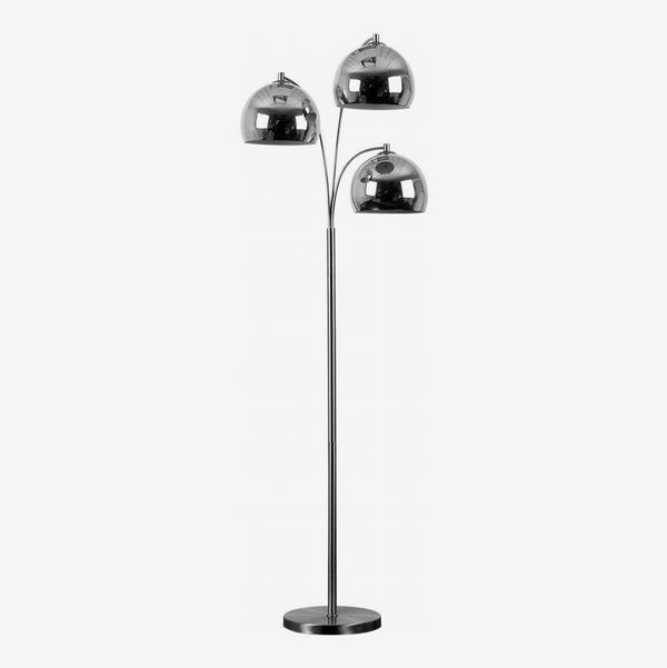 Minisun Modern Designer Style 3 Way Brushed Chrome Floor Lamp
