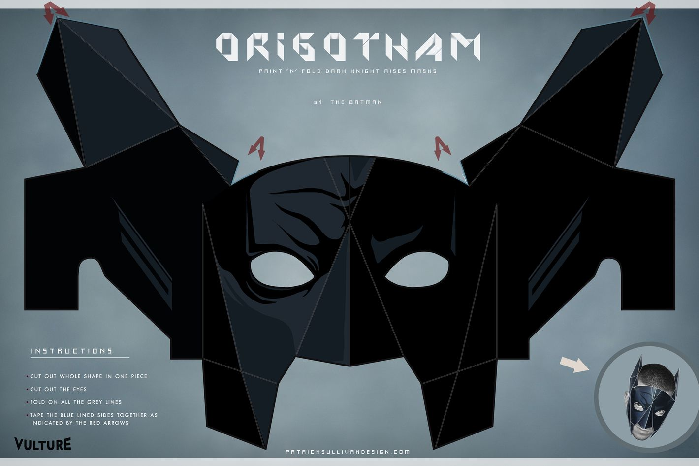 graphic relating to Batman Mask Printable called The Darkish Knight Creases: Fold Your Particular Batman, Bane, and