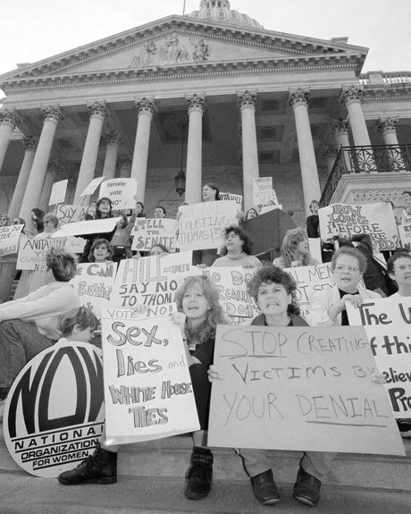 Women protest the nomination of Clarence Thomas for the Supreme Court on the steps of the U.S. Capitol in Washington, Tuesday, Oct. 15, 1991.