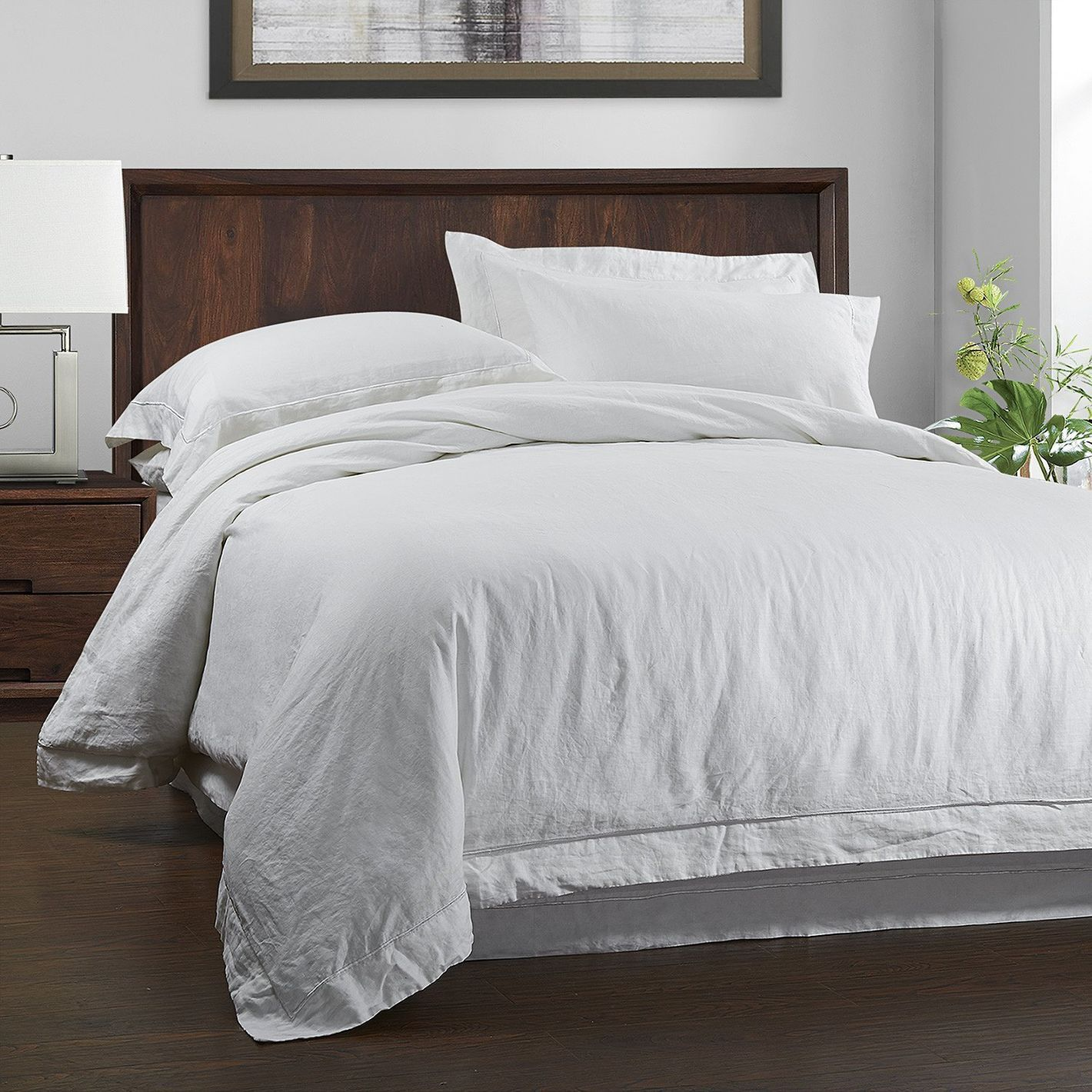 Simple Once 100 Linen Duvet Cover Set 3 Piece Solid Wash