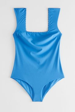 & Other Stories Scalloped Square Neck Swimsuit