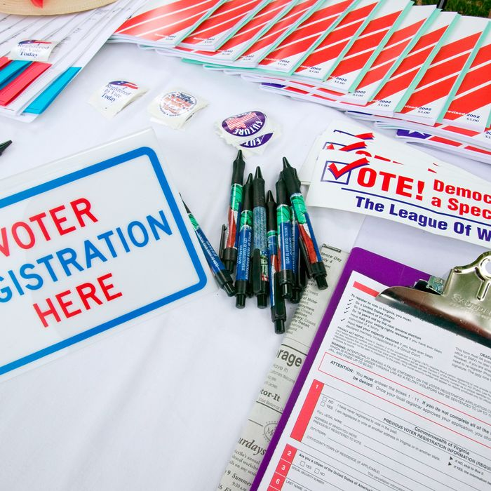 Voter registration forms.