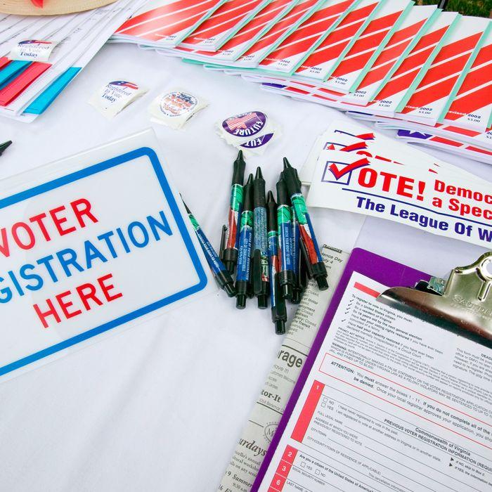 Voter registration forms.