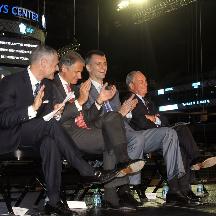 Barclays Center unveiled by Michael R. Bloomberg, New York City Mayor, Mikhail Prokhorov, Brooklyn Nets Owner, Thomas L. Kalaris, Executive Chairman of the Americas, Barclays in Brooklyn, NY on September 21, 2012.