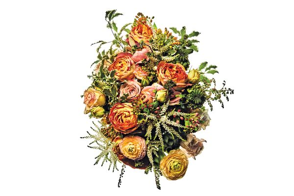 Quatre Cœurs and Helios garden roses, Cappuccino rose, Sahara Sensation spray rose, astilbe, asclepias Heron King mix, poppy pod, and variegated pittosporum