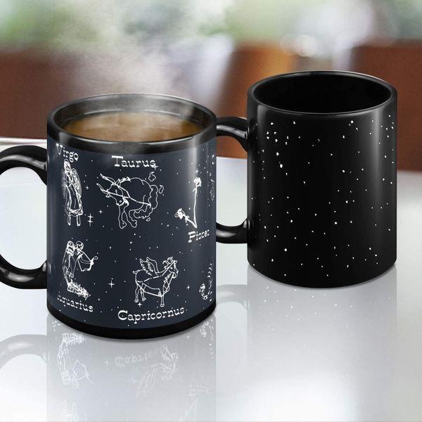 Heat Changing Constellation Mug Magic Coffee Mug Heat Sensitive Porcelain Tea Cup