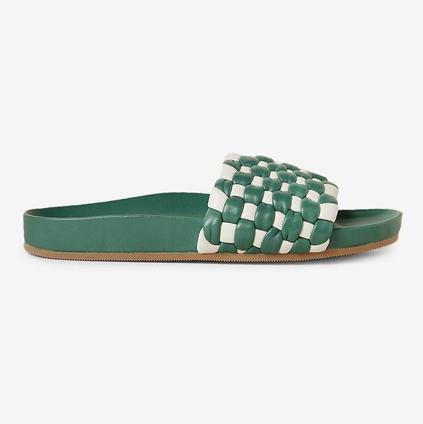 Loeffler Randall Sonnie Bicolor Woven Lambskin Pool Sandals, Green