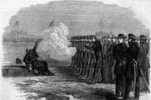 Illustration of a deserter being executed by a firing squad at the Federal Camp in Alexandria during the American civil war. (Photo by Kean Collection/Getty Images)