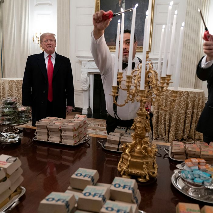 President Trump is generously serving the finest chain fast-food dinner.