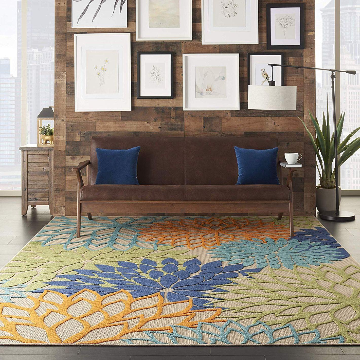 Nourison Aloha ALH05 Indoor/Outdoor Floral Blue Multicolor Area Rug