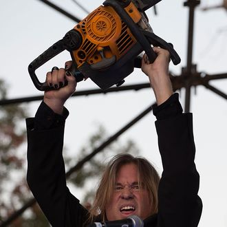 AUSTIN, TX - NOVEMBER 02: Actor Val Kilmer acts on stage while filming the new Terrence Malick movie during day one of Fun Fun Fun Fest at Auditorium Shores on November 2, 2012 in Austin, Texas. (Photo by Rick Kern/WireImage)