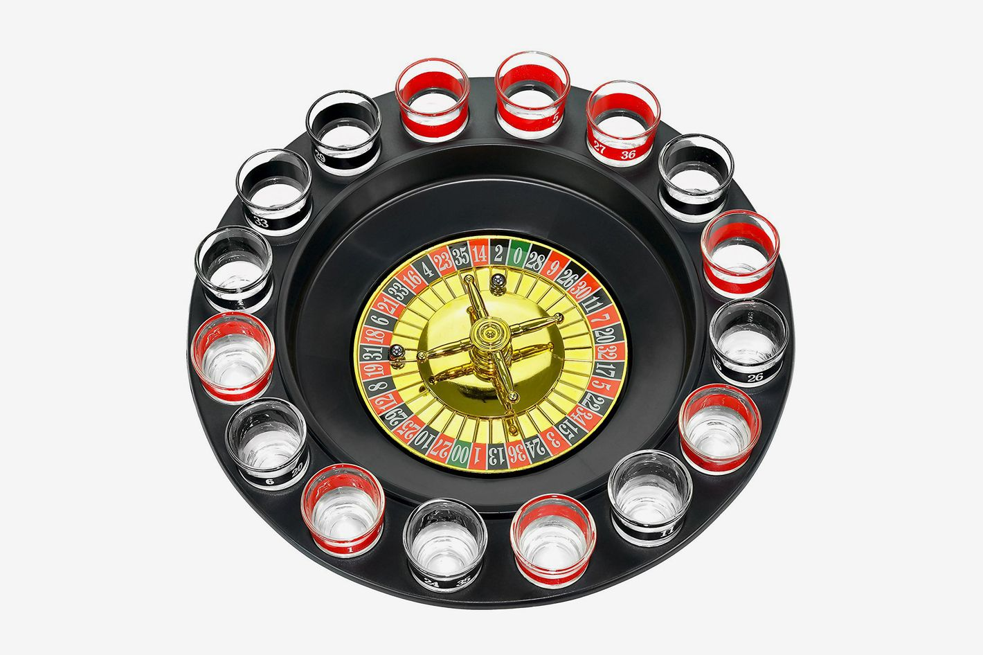 Shot Glass Roulette — Drinking Game Set (2 Balls and 16 Glasses)