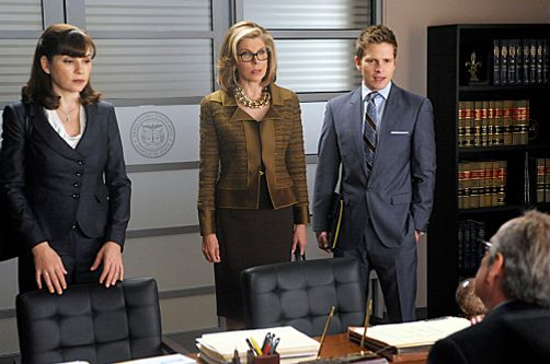 """The Penalty Box""--Judge Cuesta (David Paymer, seated) explains to Alicia (Julianna Margulies, left), Diane (Christine Baranski, right) and Cary (Matt Czuchry) that he must declare a mistrial because he is being sued and is unable to continue presiding over their current case, on THE GOOD WIFE, Sunday, April 22."