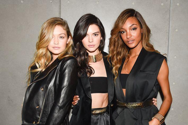 Gigi Hadid, Kendall Jenner, and Jourdan Dunn.