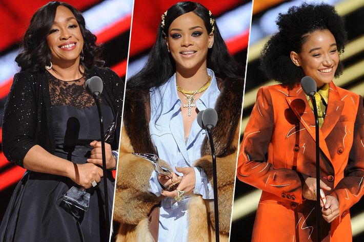 Shonda Rhimes, Rihanna, and Amandla Stenberg at Black Girls Rock