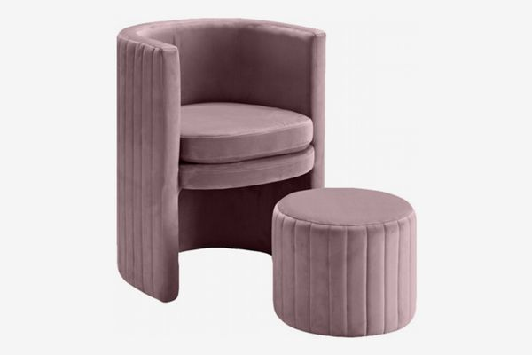 Meridian Furniture Selena Upholstered Barrel Chair with Ottoman