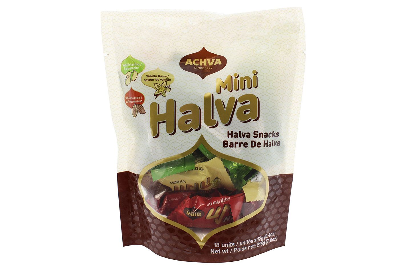 Achva Kosher Vanilla, Cocoa Beans, and Pistachio Mini Halva Bars Snack Bag