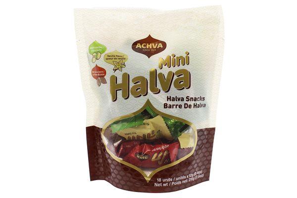 Achva Kosher Vanilla, Cocoa Beans, and Pistachio Mini Halva Bars Snack Bag
