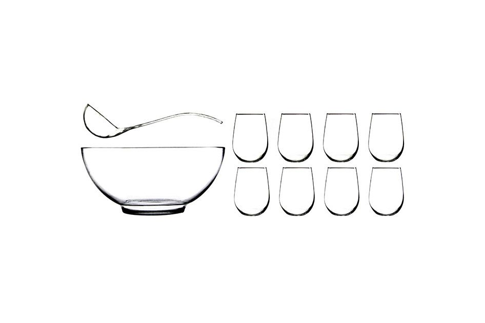 Anchor Hocking Presence Ten-Piece Punch Bowl With Ladle and Glasses