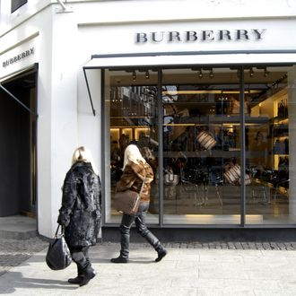 COPENHAGEN/DENMARK _ Female consumer walk by the british Burberry store 6 March 2012 (PHOTO BY FRANCIS JOSEPH DEAN/DEAN PICTURES)