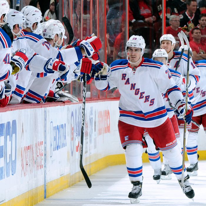 Chris Kreider #20 of the New York Rangers celebrates his second period goal with teammates in Game Six of the Eastern Conference Quarterfinals against the Ottawa Senators during the 2012 NHL Stanley Cup Playoffs