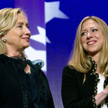 NEW YORK CITY- SEPTEMBER 22: Hillary Rodham Clinton (L), Secretary of State, stands as she is applauded by her daughter Chelsea Clinton during the closing Plenary session of the seventh Annual Meeting of the Clinton Global Initiative (CGI) at the Sheraton New York Hotel on September 22, 2011 in New York City. Established in 2005, by former US President Bill Clinton, the Clinton Global Initiative (CGI) convenes global leaders to devise and implement innovative solutions to some of the world'??s most pressing challenges. (Photo by Daniel Berehulak/Getty Images)