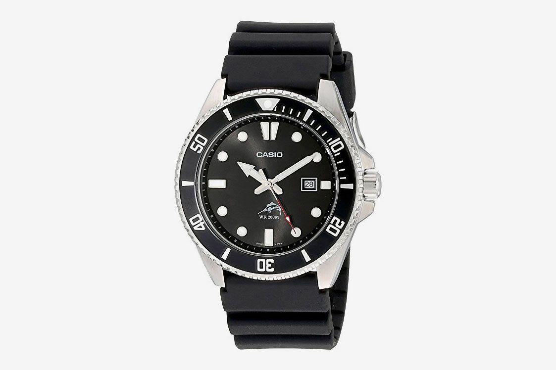 Casio Men's Black Analog Anti Reverse Bezel Watch